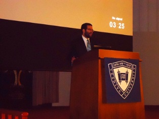 R. Ezra Frazer speaking at the US Chidon Finals May 2012