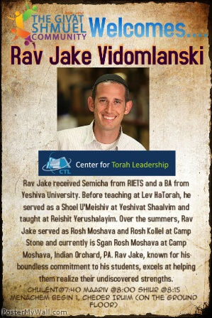 Shiurim in GS-Rav Jake-web